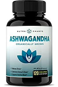 NutraChamps Organic Ashwagandha 1200mg - 120 Veggie Capsules - Premium Root Powder Supplement for Stress Relief, Anxiety Support & Mood - Certified Organic Ashwaganda w/ BioPerine Black Pepper Extract