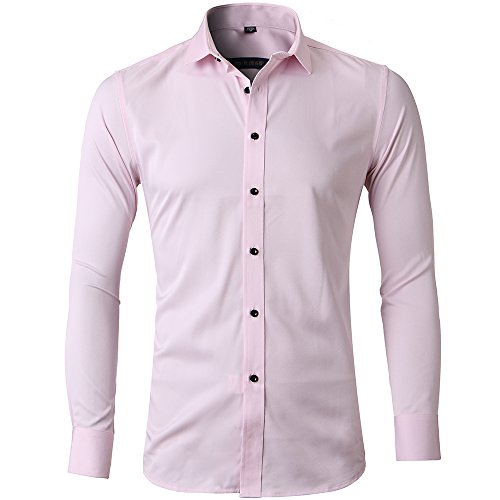 (Men's Bamboo Fiber Dress Shirts Slim Fit Solid Long Sleeve Casual Button Down Shirts, Elastic Formal Shirts for Men,Pink Shirts,16.5