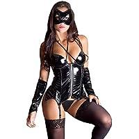 Fantasia Erótica Mulher Aranha Espartilho Preto com Máscara e Par de Luvas - GV117