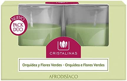 CRISTALINAS Pack Dúo Velas Orquídeas Y Flores Verdes, Cera, 11.6 ...