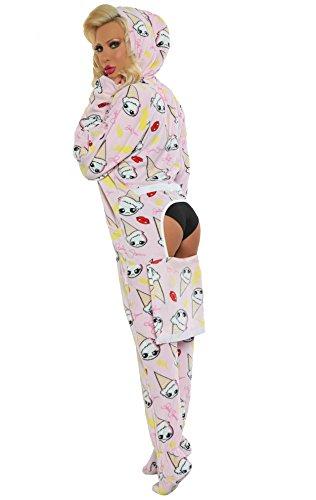 - Jumpin Jammerz Josie Stevens Clumsy Cones Pink Adult Footed Onesie Pajama (Medium)