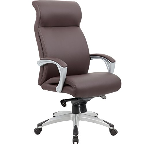 Genesis Designs 'Beverly' High Back Executive Office Chair with Sleek, Dual Wheel Casters, Leather Plus, Padded Armrests & Reclining Back, Brown