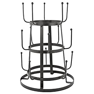 MyGift Vintage Rustic Gray Iron Mug / Cup / Glass Bottle Organizer Tree Drying Rack Stand