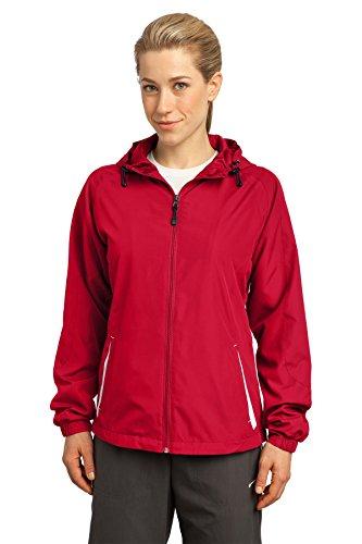 (Sport-Tek Women's Colorblock Hooded Raglan Jacket, True Red/White, XXXX-Large)