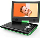 "【Upgraded】 ieGeek 11"" Portable DVD Player with 360° Swivel Screen,Dual Earphone Jack, 5 Hrs Rechargeable Battery, Supports SD Card/USB/CD/DVD and Region Free, Suitable for Car Headrest Mount, Green"