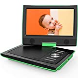 ArtMuseKitsMikash ieGeek 11' Portable DVD Player with Dual Earphone Jack, 360° Swivel Screen, 5 Hrs Rechargeable Battery, Supports SD Card/USB/CD/DVD and Region Free, Remote Controller, Green