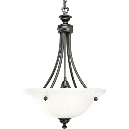 Progress Lighting P3608-77 3-Light Inverted Pendant with Etched Glass, Forged Bronze -