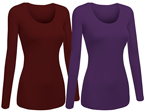 Emmalise Women's Plain Basic Scoop Neck Long Sleeve Tshirt Tee - 2Pk - Purple, Burgundy, - Purple Burgundy