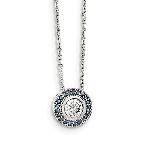 (925 Sterling Silver Glass Blue Glass/cz Round/halo Chain Necklace Pendant Charm Cz Fine Jewelry Gifts For Women For Her)