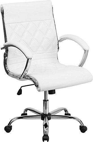 Aberdeen Mid-Back White Leather Executive Swivel Chair w/Padded Arms