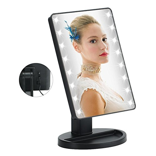 KYG LED Makeup Mirror with 16 LED Lamp Beads and Touch Screen Cosmetic Mirror 80 Degree Rotation Adjustable Stand Cosmetic Desk and Table-top