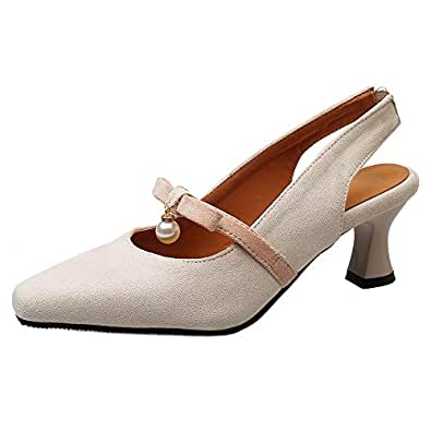 BeiaMina Women Fashion Mid Heel Pumps Bowknot Dress Shoes Louis Heel Slingback Pumps Autumn Beige Size 32 Asian