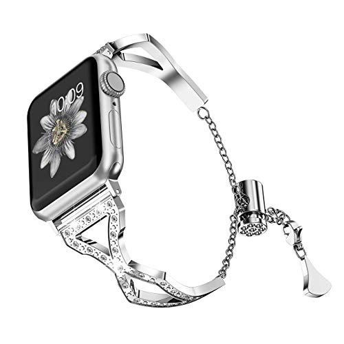 Inno-Huntz Bling Bands Compatible with Apple Watch Band 38mm 40mm 42mm 44mm Series 4/3/2/1 Adjustable Watch Strap for Women Girl Stainless Steel Rhinestone Diamonds Bracelet Silver