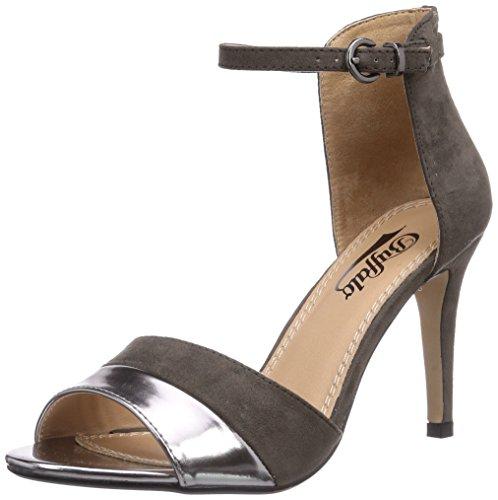 Buffalo Shoes 312339 MET PU IMI SUEDE, Damen Knöchelriemchen Sandalen, Grau (PEWTER 01), 38 EU
