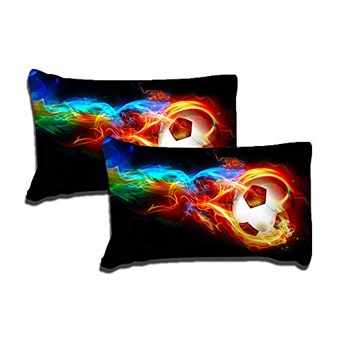 ADASMILE A & S Kid's Soccer Ball Pillowcases 2 Pieces Microfiber Polyester 20 by 30 Inches Kids Envelope Pillows Custom Pillow Covers Gift Personalized