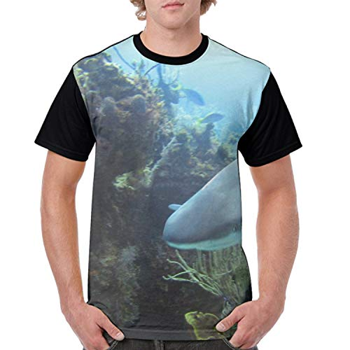 Mens T Shirts Graphic Men Reef Shark 3D Printing Short Sleeve Shirts Casual Graphic T-Shirt ()
