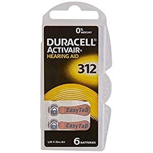 60 x Size 312 / BROWN – DURACELL EasyTab Hearing Aid Batteries (10 packs of six cells)