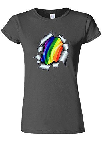 申し込む添付物思いにふけるGaypride LGBT Gayman Super Hero Novelty Charcoal Women T Shirt Top-L