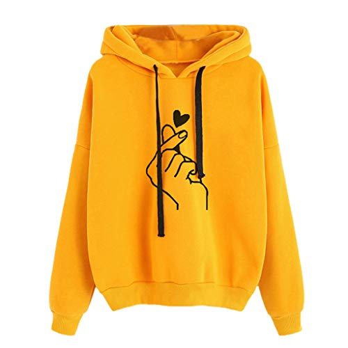 Sunhusing Women's Gesture Love Heart Print Long Sleeve Drawstring Pullover Hoodie Sweatshirt Top Yellow