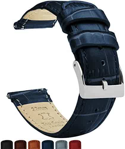 22mm Navy Blue - Barton Alligator Grain - Quick Release Leather Watch Bands