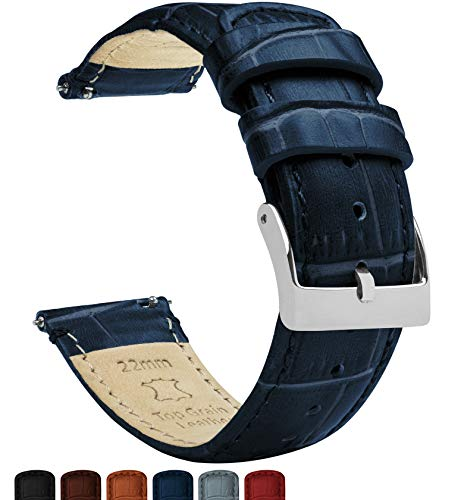 Barton Alligator Grain - Quick Release Leather Watch Bands - Choose Color - 16 mm, 18mm, 19mm, 20mm, 21mm, 22mm, 23mm, or 24mm - Navy Blue 22mm Strap