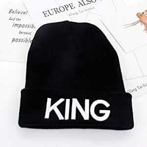 SAONIAN Sombrero de Invierno Lindo Bordado King Queen Knit Cap ...