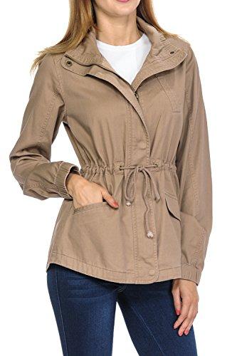 (Women's Premium Vintage Wash Lightweight Military Fashion Twill Hoodie Jacket Camel S)