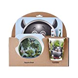 Rweng Kids Tableware Set 5Pcs Baby Bamboo Fiber Cartoon Bowl Animal Dinnerware Set Toddler Cup Spoon Fork