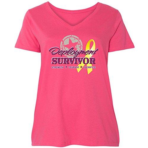 inktastic - Deployment Survivor Star Ladies Curvy V-Neck Tee 4 (26/28) Pink c8ef