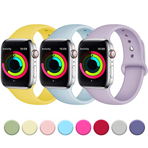 Fuleda Band Compatible with Apple Watch 40mm 38mm, Replacement Sport Bands for iWatch Series 4, Series 3, Series 2, Series 1, Mango Yellow/Turquoise/Lavender Gary, M/L -