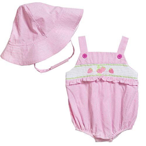 (Good Lad Newborn/Infant Girls Seersucker Smocked Bubble with Embroidery and Matching Seersucker Hat (3/6M, Pink))