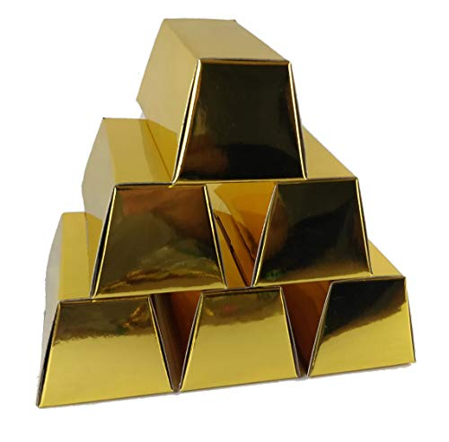 EpicYeti Foil Gold Bar Favor Boxes. Package of 10 Gold Box Party Favors Great for Pixel Miner, Birthday, Casino Nights, Western Theme Parties and Crafts. Easy Assembly and 2 Size Options. (Large)