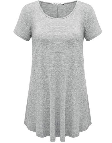 JollieLovin Women's Short Sleeve Loose Fit Flare Hem T Shirt Tunic Top (Heather Gray, XL (1X))