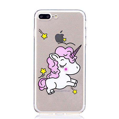 iPhone 7 Plus Custodia , Leiai Moda Cavallo Trasparente Silicone Morbido TPU Cover Case Custodia per Apple iPhone 7 Plus
