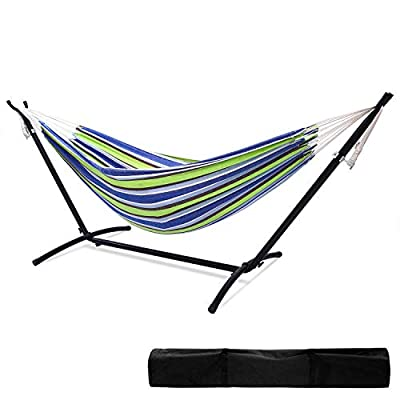 """Ohuhu Double Hammock 115""""(L) x 48""""(W) with Space Saving Steel Stand Includes Portable Carrying Case up to 450lbs Capacity"""