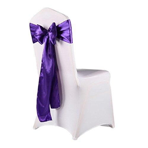 - XWB 10pcs Satin Chair Sash Bow Ties Chair Back Knot Streamer Silk Ribbon Wedding Party Banquet Decor