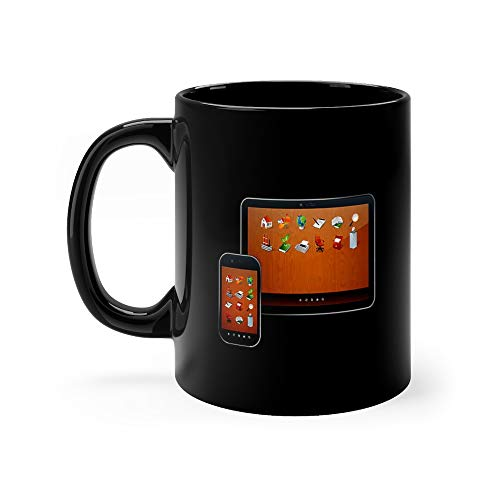 Tablet Pc And Smartphone With 3d Icons Ebony Coffee Mug Ceramic 11 Oz Cup