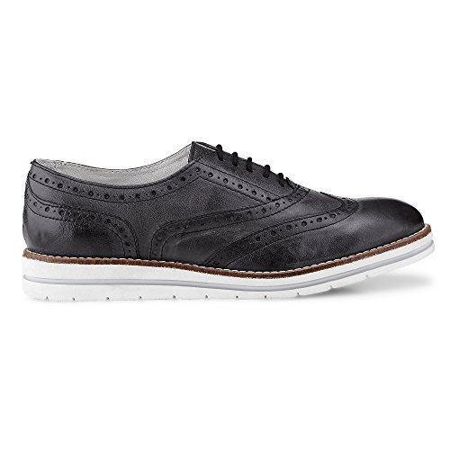 Cox Dames Oxford Lace Up Zwart Leer Lace-chic Lyra-perforatie Zwart