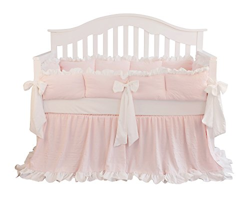 Blush Coral Pink Ruffle Crib Bedding Set Baby Girl Bedding Blanket Nursery Crib Skirt Set Baby Girl Crib Bedding Sheet (LT Coral, 3 Pieces Set) (Princess Crib Bumper)