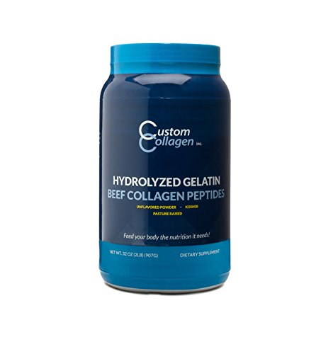 Custom Collagen's Hydrolyzed Gelatin | Collagen Peptides 2lb (32oz) Jar - Pasture Raised Cattle - Kosher - Unflavored Powder