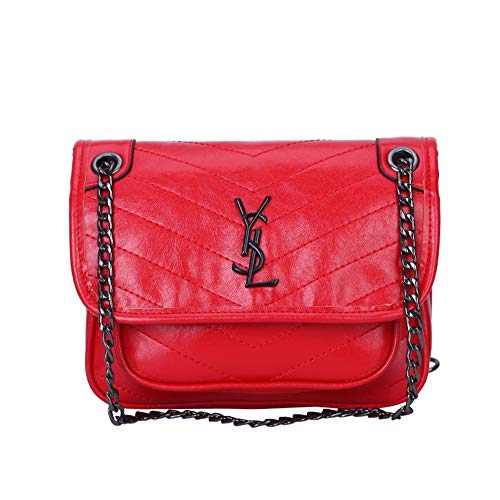 (Crossbody Bags for Women PU Leather Flap Purse Red Shoulder Handbags)