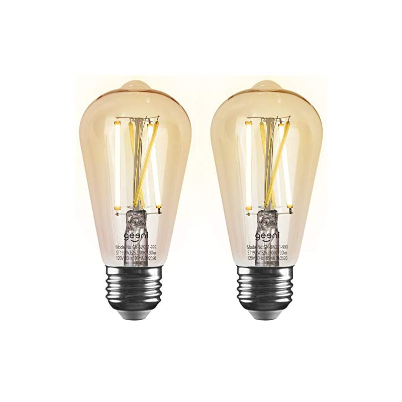 Geeni LUX Amber ST19 Edison WiFi LED Smart Bulb, 2700K - 6500K 8W, E26 Base, Dimmable, Tunable White Light, Compatible…