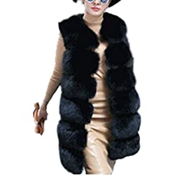 Women's Faux Fox Fur Vest Long Fur Jacket Warm Faux Fur Coat Outwear (Black, L)