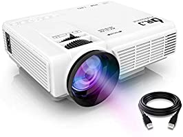 """DR.J Projector (Latest Upgraded), Mini Projector with 176"""" Projection Size, 1080P Supported Full HD Video Projector, Compatible with HDMI, VGA, AV, USB for Home Theater, Movie, Video Game, Party, Outdoor activities and More"""