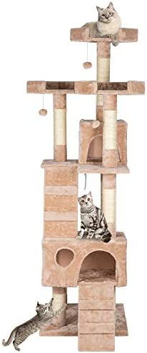 66 Sisal Hemp Cat Tree Tower Condo Furniture Scratch Post Pet House Play Kitten with Cozy Perches Beige