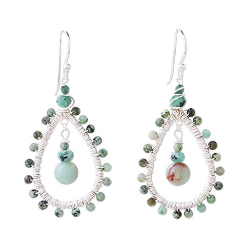 Novica Jasper Ring - NOVICA Multi-Gem Prehnite .925 Sterling Silver Beaded Earrings, Jasper Drop'