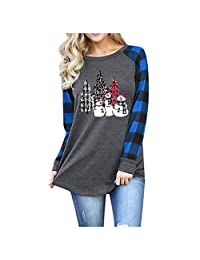 SNOWSONG Christmas Santa Shirts Womens Plaid Long Sleeve Xmas Graphic Tunic Blouse Tops Casual