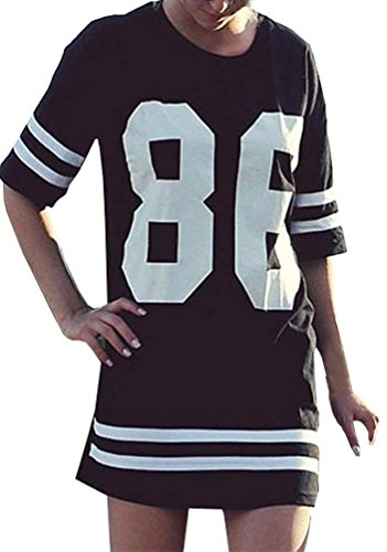 Ninimour- Women s Summer Oversized Baseball T Shirt Top Loose Dress 7aa65f723