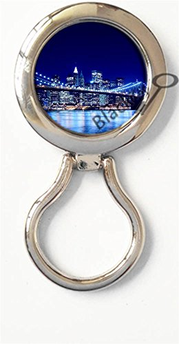 BlackKey Brooklyn Bridge Night Scenery Magnetic Metal Eyeglass Badge Holder, Eye Glass Holding Brooch -