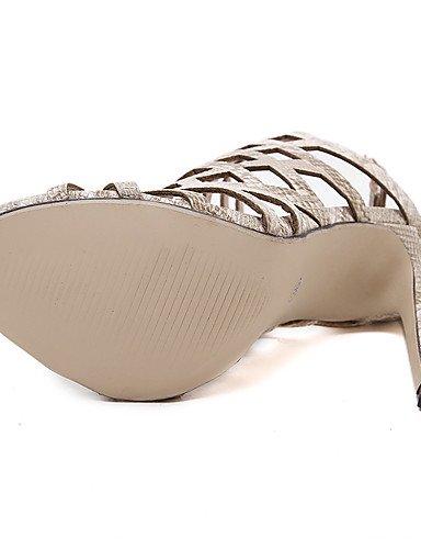 LFNLYX Scarpe Donna-Sandali-Formale / Casual-Aperta-A stiletto-PU-Nero / Tessuto almond